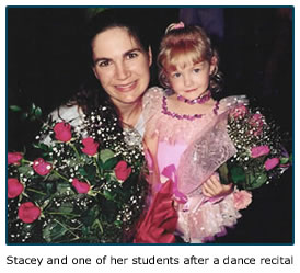 Dance website design - Stacey & one of her students after a dance recital